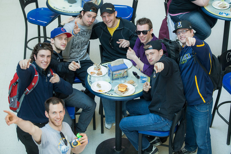 """Students pose for a portrait during the 2013 Spring Fest indoor barbecue.  <div class=""""ss-paypal-button"""">Filename: LIF-13-3799-11.jpg</div><div class=""""ss-paypal-button-end"""" style=""""""""></div>"""