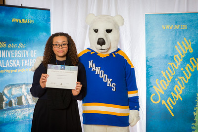 Prospective students pose with the UAF mascot during the Fall 2015 Inside Out event hosted by UAF's office of admissions and the registrar.  Filename: LIF-14-4353-83.jpg