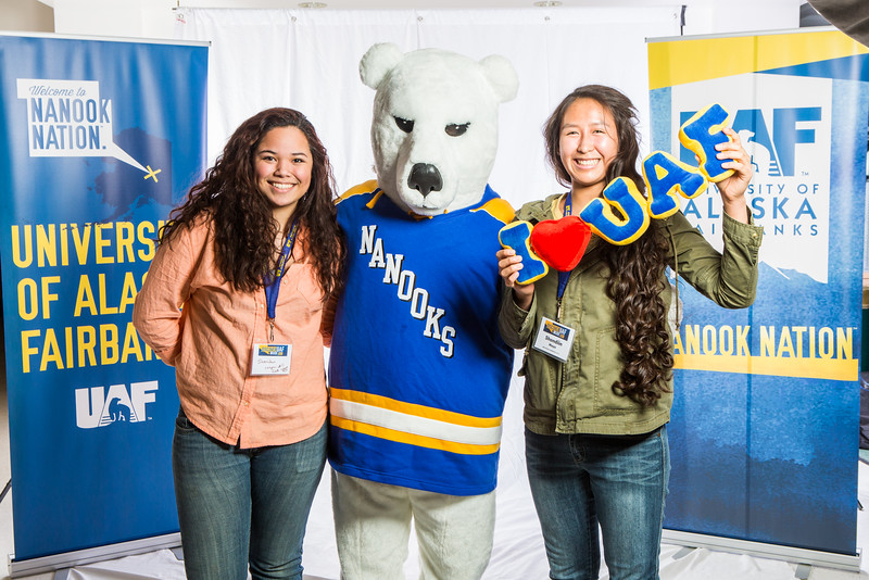 """Future UAF students and family members pose with the Nanook mascot during Inside Out.  <div class=""""ss-paypal-button"""">Filename: LIF-16-4839-91.jpg</div><div class=""""ss-paypal-button-end""""></div>"""