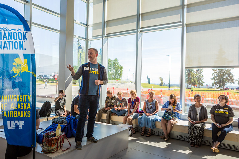 """UAF Transitions Programs Coordinator Ronnie Houchin speaks to prospective students and their parents at the Murie Building.  <div class=""""ss-paypal-button"""">Filename: LIF-16-4925-40.jpg</div><div class=""""ss-paypal-button-end""""></div>"""