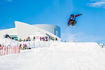 UAF students and local high schoolers signed up to compete in the inaugural si and snowboard jump competition on the new terrain park in March, 2013.  Filename: LIF-13-3750-271.jpg