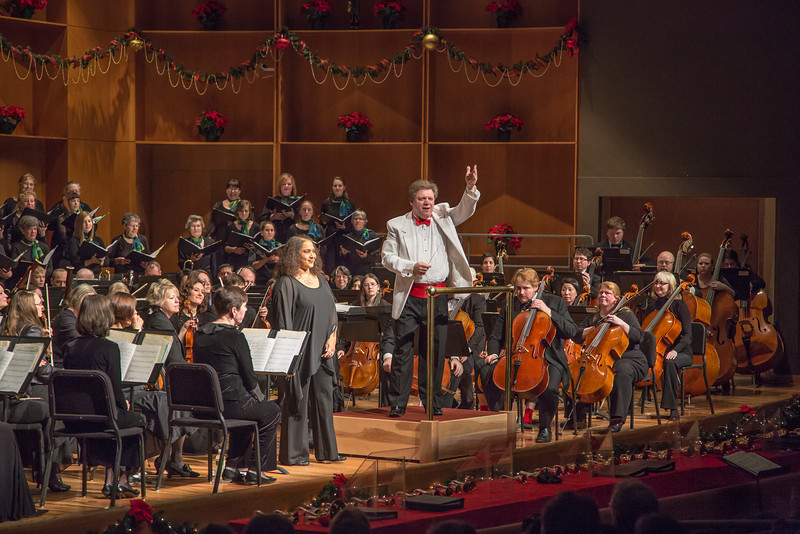 """Music professor Jaunelle Celaire performed with Conductor Eduard Zilberkant, the Fairbanks Symphony Orchestra and the University Chorus during a special holiday performance in the Davis Concert Hall.  <div class=""""ss-paypal-button"""">Filename: LIF-12-3669-126.jpg</div><div class=""""ss-paypal-button-end"""" style=""""""""></div>"""
