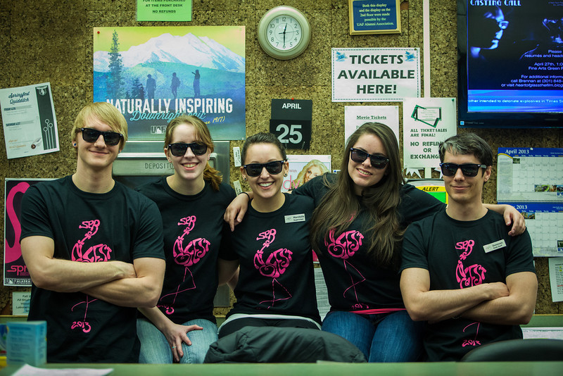 """Wood Center student staff pose for a portrait wearing 2013 Spring Fest shirts.  <div class=""""ss-paypal-button"""">Filename: LIF-13-3799-43.jpg</div><div class=""""ss-paypal-button-end"""" style=""""""""></div>"""
