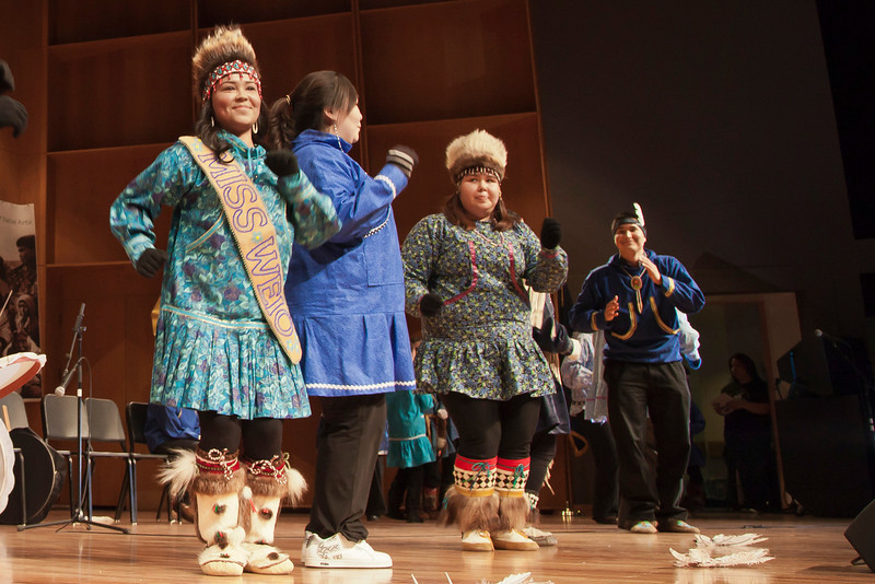 """Members of the UAF Inu-Yupiaq student dancers perform in the Davis Concert Hall on the Fairbanks campus.  <div class=""""ss-paypal-button"""">Filename: LIF-12-3310-02.jpg</div><div class=""""ss-paypal-button-end"""" style=""""""""></div>"""