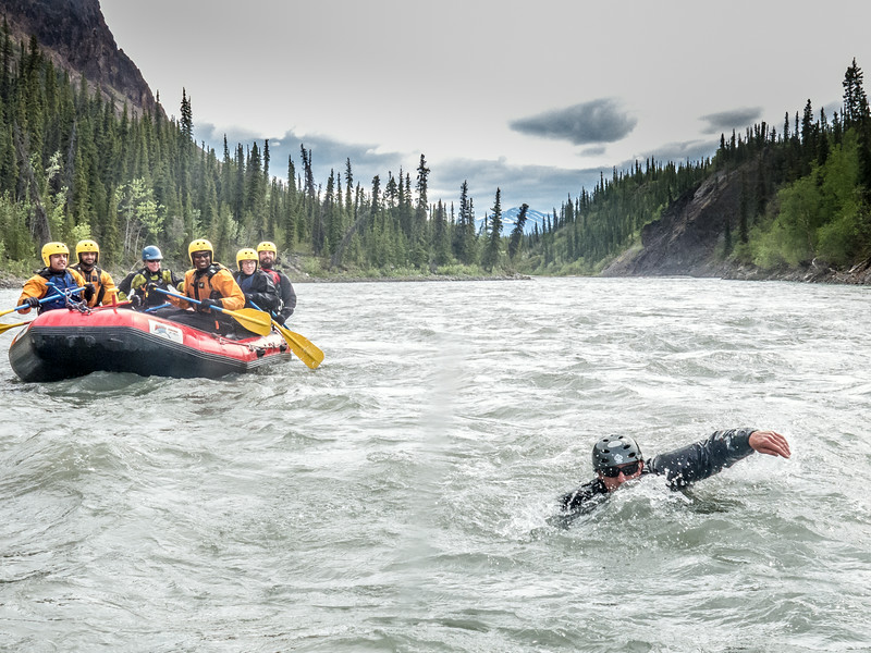 "UAF Outdoor Adventures recreation manager Sam Braband swims between rafts during a float trip down the Nenana River in June, 2014.  <div class=""ss-paypal-button"">Filename: OUT-14-4211-118.jpg</div><div class=""ss-paypal-button-end""></div>"