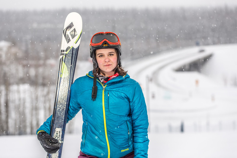 """Outdoor enthusiast Michelle Klaben takes her skis out on the UAF Terrain Park on a snowy afternoon.  <div class=""""ss-paypal-button"""">Filename: LIF-13-3721-159.jpg</div><div class=""""ss-paypal-button-end"""" style=""""""""></div>"""