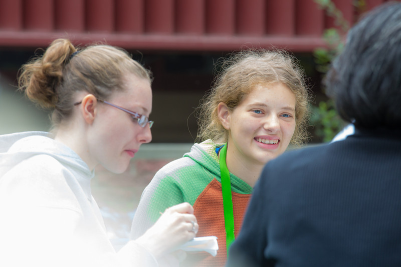 """Jessica McLaughlin visits with other students at the annual UAF Honors House welcome barbeque.  <div class=""""ss-paypal-button"""">Filename: LIF-12-3523-15.jpg</div><div class=""""ss-paypal-button-end"""" style=""""""""></div>"""