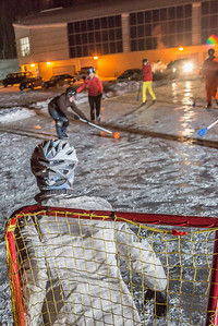 Outdoor broomball, played on the ice in front of the SRC, is a popular intramural sport at UAF.  Filename: LIF-12-3652-203.jpg