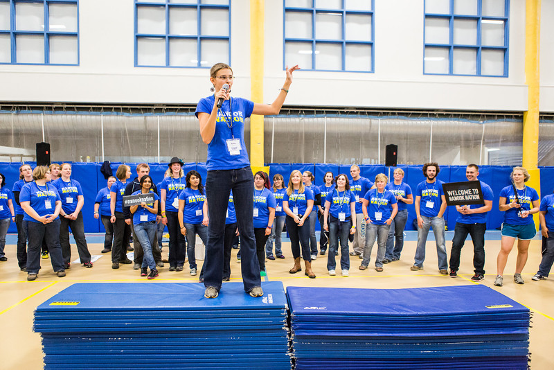 """Ashley Strauch and the rest of the Orientation Leaders introduces themselves to incoming students during New Student Orientation at the Student Rec. Center.  <div class=""""ss-paypal-button"""">Filename: LIF-13-3924-71.jpg</div><div class=""""ss-paypal-button-end"""" style=""""""""></div>"""