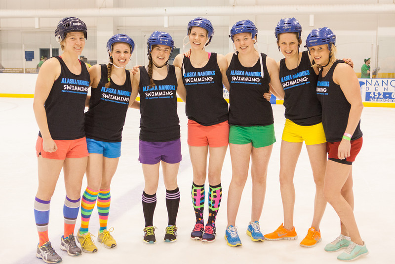 "Members of the Alaska Nanooks Women's Swimming Team pose for a team portrait before playing ice dodgeball during the 2013 Spring Fest field day.  <div class=""ss-paypal-button"">Filename: LIF-13-3803-23.jpg</div><div class=""ss-paypal-button-end"" style=""""></div>"