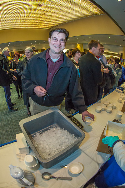 """CTC Associate Dean Keith Swarner enjoyed ice cream in the Great Hall after attending the chancellor's annual convocation address in the neighboring Davis Concert Hall.  <div class=""""ss-paypal-button"""">Filename: LIF-13-3945-139.jpg</div><div class=""""ss-paypal-button-end"""" style=""""""""></div>"""