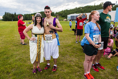 Participants in the 2016 Midnight Sun Run dress up in costume for the popular event near the summer solstice.  Filename: LIF-16-4918-26.jpg