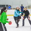 "Undergraduates Vicki Milton and Lindsey Klueber were among a big crowd who turned out for a fun game of ice dodgeball on the Patty Ice during UAF's 2014 Winter Carnival.  <div class=""ss-paypal-button"">Filename: LIF-14-4087-77.jpg</div><div class=""ss-paypal-button-end""></div>"