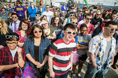Students crowd around the dance stage during the 2014 Spring Fest Dance Off at the Wood Center balcony.  Filename: LIF-14-4161-30.jpg
