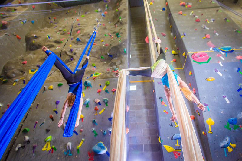 """Undergraduates Miriam Brooks, left, and Teal Rogers practice their silk climbing skills in the SRC.  <div class=""""ss-paypal-button"""">Filename: LIF-13-3819-125.jpg</div><div class=""""ss-paypal-button-end"""" style=""""""""></div>"""
