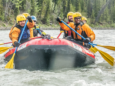 Students and staff members enjoy raft trip down the Nenana River led by UAF Outdoor Adventures in June, 2014.  Filename: OUT-14-4211-117.jpg
