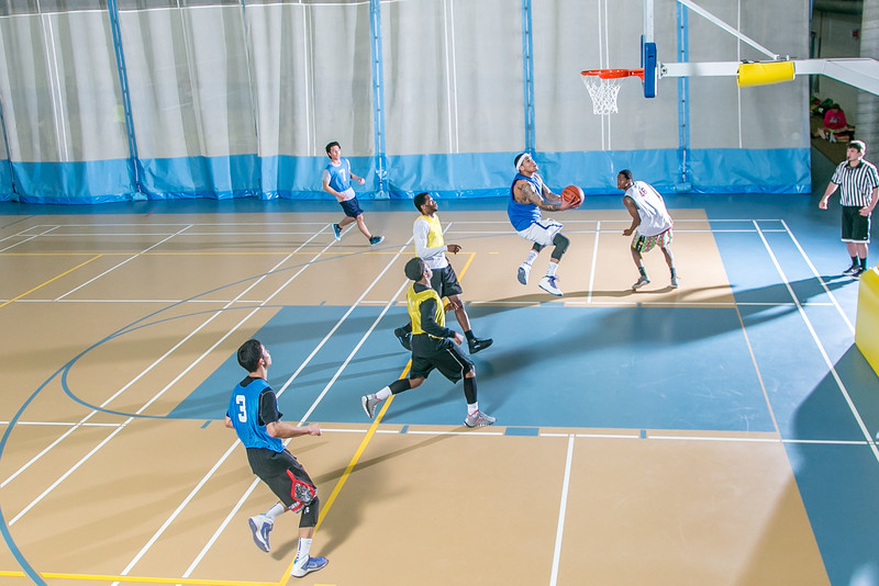 """Intramural basketball action on a Tuesday night at the Student Recreation Center.  <div class=""""ss-paypal-button"""">Filename: LIF-14-4111-302.jpg</div><div class=""""ss-paypal-button-end"""" style=""""""""></div>"""