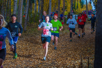 At least 1,200 runners leave the University of Alaska campus at the start of the 50th Annual Equinox Marathon, Saturday morning, September 15, 2012.  Filename: LIF-12-3553-5.jpg