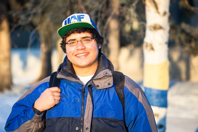 """Jay Santiago pauses for a portrait before heading to his world history class in the Bunnell Building on a cold November afternoon.  <div class=""""ss-paypal-button"""">Filename: LIF-12-3667-29.jpg</div><div class=""""ss-paypal-button-end"""" style=""""""""></div>"""