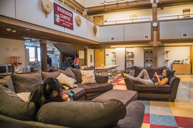"""Students from rural Alaska relax after a day of classes in Sackett Hall at UAF's Kuskokwim Campus in Bethel.  <div class=""""ss-paypal-button"""">Filename: LIF-16-4859-541.jpg</div><div class=""""ss-paypal-button-end""""></div>"""