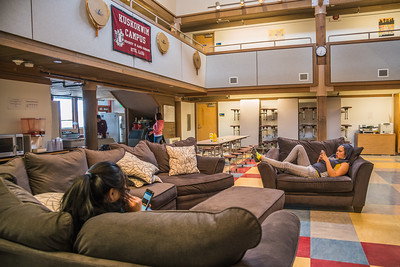 Students from rural Alaska relax after a day of classes in Sackett Hall at UAF's Kuskokwim Campus in Bethel.  Filename: LIF-16-4859-541.jpg