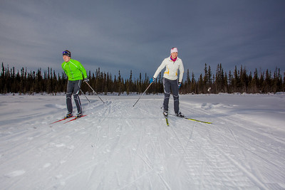 UAF students Ian Wilkinson and Raphaela Sieber enjoy a morning loop around the campus ski trails.  Filename: LIF-12-3348-62.jpg