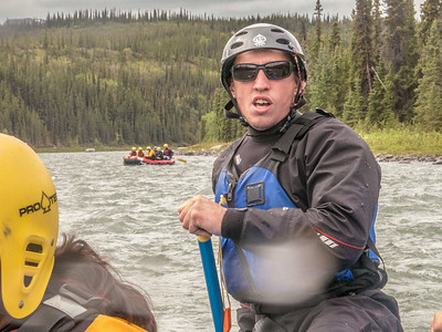 UAF Outdoor Adventures recreation manager Sam Braband leads a raft trip down the Nenana River in June, 2014.  Filename: OUT-14-4211-087.jpg