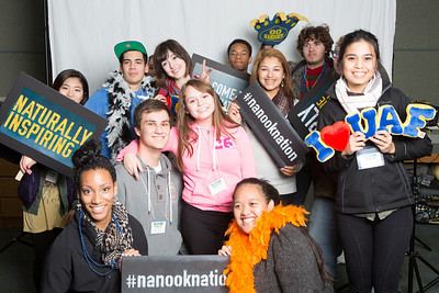 After touring campus during UAF's InsideOut Day, a group of high school students gather for a photobooth portrait.  Filename: LIF-13-3965-31.jpg