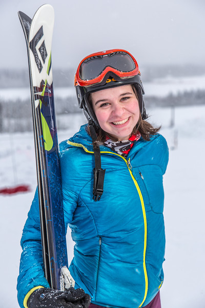 """Outdoor enthusiast Michelle Klaben takes her skis out on the UAF Terrain Park on a snowy afternoon.  <div class=""""ss-paypal-button"""">Filename: LIF-13-3721-188.jpg</div><div class=""""ss-paypal-button-end"""" style=""""""""></div>"""