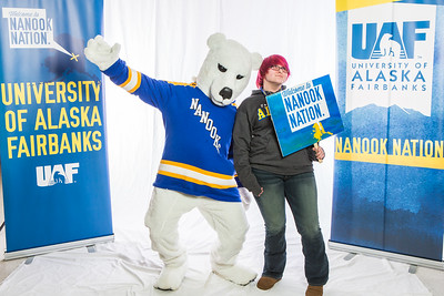 Future UAF students and family members pose with the Nanook mascot during Inside Out.  Filename: LIF-16-4839-43.jpg
