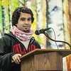 "Fahad Alshamman of Saudi Arabia informs a handful of students, faculty, and community members about his country during a flag dedication ceremony at the Wood Center.  <div class=""ss-paypal-button"">Filename: LIF-12-3655-55.jpg</div><div class=""ss-paypal-button-end"" style=""""></div>"