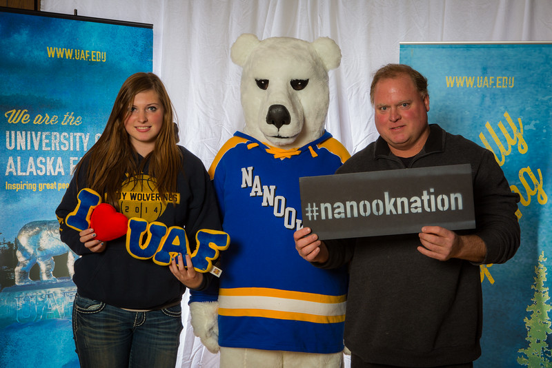 "Parents and prospective students pose with the UAF mascot during the Fall 2015 Inside Out event hosted by UAF's office of admissions and the registrar.  <div class=""ss-paypal-button"">Filename: LIF-14-4353-52.jpg</div><div class=""ss-paypal-button-end""></div>"
