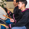 "Justin Bill, left, and Chase Alexie beat the drums for the KuC Yuraq Dance Group as they practice in the school's conference room on March 30, 2016 in preparation for their upcoming appearance at the Cama-i Dance Festival in Bethel.  <div class=""ss-paypal-button"">Filename: LIF-16-4859-340.jpg</div><div class=""ss-paypal-button-end""></div>"