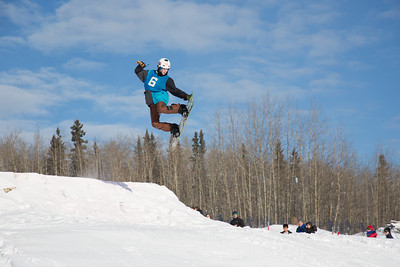 UAF students and local high schoolers signed up to compete in the inaugural si and snowboard jump competition on the new terrain park in March, 2013.  Filename: LIF-13-3750-127.jpg