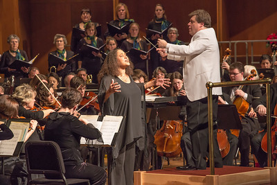 Music professor Jaunelle Celaire performed with Conductor Eduard Zilberkant, the Fairbanks Symphony Orchestra and the University Chorus during a special holiday performance in the Davis Concert Hall.  Filename: LIF-12-3669-118.jpg