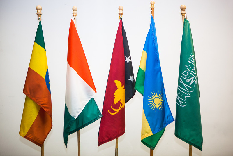 """Flags, from left, Ethiopia, Côte d'Ivoire, Papua New Guinea, Rwanda and Saudi Arabia were dedicated at a ceremony welcoming new students from those countries at the Wood Center from the UAF International Programs & Initiatives.  <div class=""""ss-paypal-button"""">Filename: LIF-12-3655-62.jpg</div><div class=""""ss-paypal-button-end"""" style=""""""""></div>"""