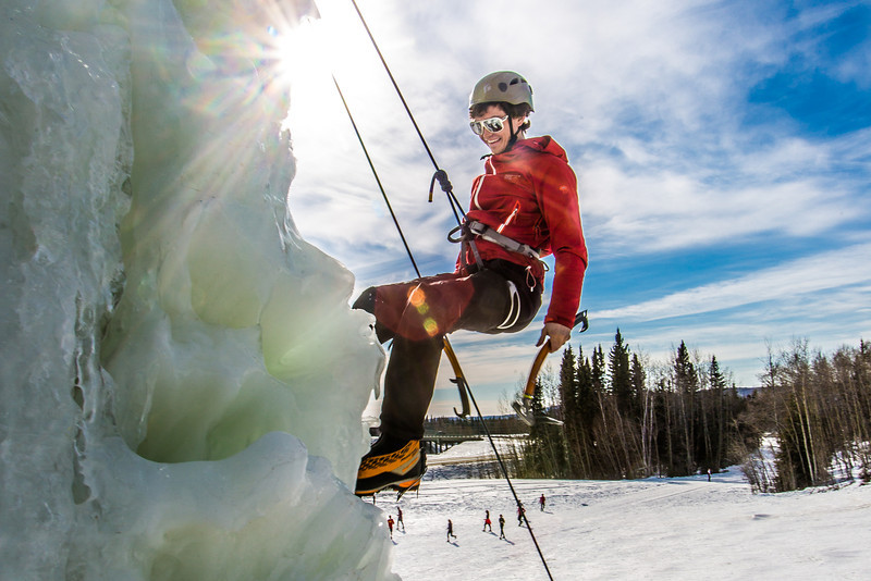 """Engineering major Ryan Kudo enjoys a late season climb up the UAF ice wall on April 4.  <div class=""""ss-paypal-button"""">Filename: LIF-14-4132-55.jpg</div><div class=""""ss-paypal-button-end"""" style=""""""""></div>"""