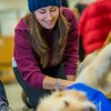 """Laurence Coulombe, an exchange student from Montreal, spends some quality time with new friends during Dogs in the Library day. The event is offered during finals week to provide students with a bit of stress relief.  <div class=""""ss-paypal-button"""">Filename: LIF-13-4023-50.jpg</div><div class=""""ss-paypal-button-end"""" style=""""""""></div>"""