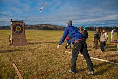 UAF alumnus Brendon Bruns participated in the 2011 Farthest North Forest Sports Festival hosted by the UAF School of Natural Resources & Agricultural Sciences.  Filename: LIF-11-3185-121.jpg