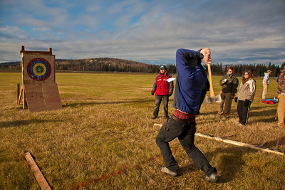 UAF alumnus Brendon Bruns participated in the 2011 Farthest North Forest Sports Festival hosted by the UAF School of Natural Resources & Agricultural Sciences.  Filename: LIF-11-3185-120.jpg