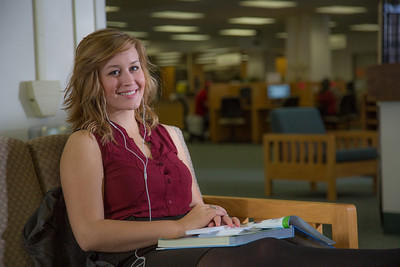 Music education major Anna Polum finds a comfortable spot to study in the Rasmuson Library.  Filename: LIF-13-3950-78.jpg