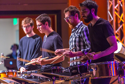 Percussion students in Prof. Morris Palter's Ensemble 64.8 perform in the Davis Concert Hall as guests arrive for the chancellor's annual convocation address.  Filename: LIF-13-3945-34.jpg