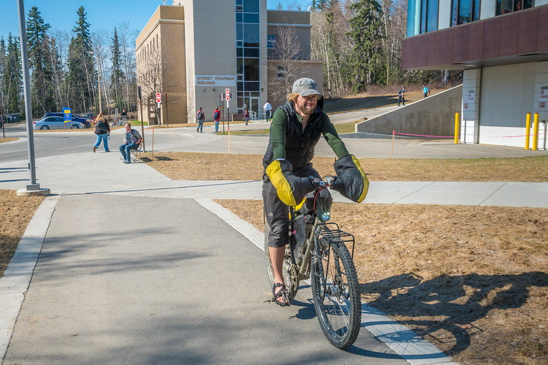 """Students enjoy some spring sunshine and warm temperatures in late April on the Fairbanks campus.  <div class=""""ss-paypal-button"""">Filename: LIF-16-4877-19.jpg</div><div class=""""ss-paypal-button-end""""></div>"""
