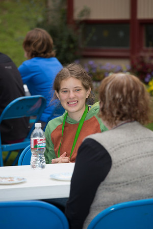 Jessica McLaughlin visits with Provost Susan Henrichs at the annual UAF Honors House welcome barbeque.  Filename: LIF-12-3523-26.jpg