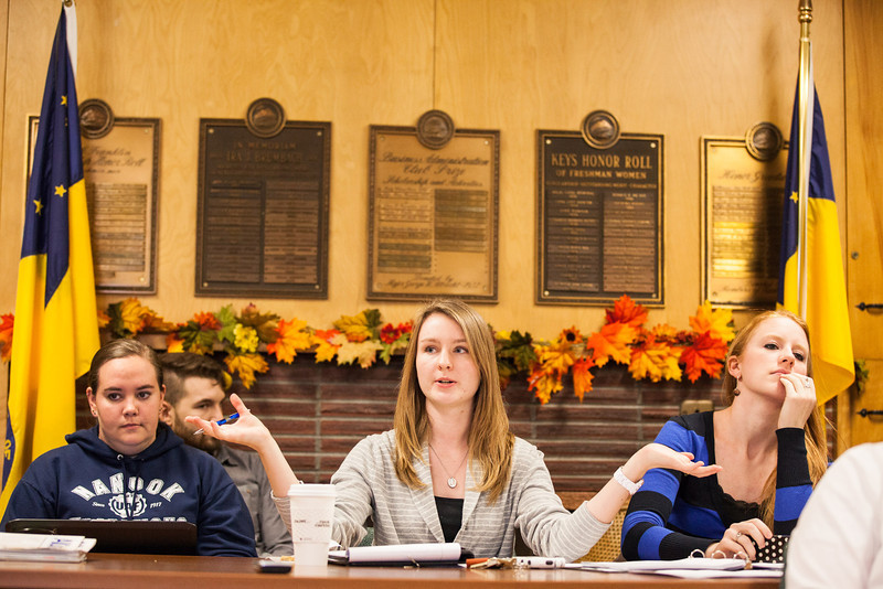 """From left, ASUAF Office Manager Anne Williamson, Chair Ayla O'Scannell, and President Mari Freitag keeps the student government meeting moving in an Oct. meeting at the Alumni Lounge.  <div class=""""ss-paypal-button"""">Filename: LIF-12-3582-20.jpg</div><div class=""""ss-paypal-button-end"""" style=""""""""></div>"""