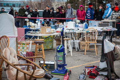 People brave the cold at the Really Free Market, May 18, 2013 on campus.  Filename: LIF-13-3844-14.jpg