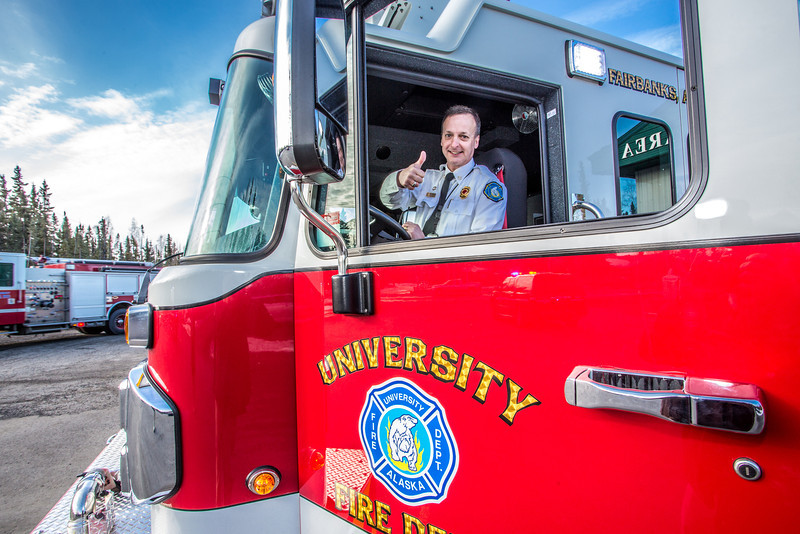 """Fire Chief Doug Schrage gives approval to the engine delivered to the University Fire Department April 18.  <div class=""""ss-paypal-button"""">Filename: LIF-14-4152-74.jpg</div><div class=""""ss-paypal-button-end"""" style=""""""""></div>"""