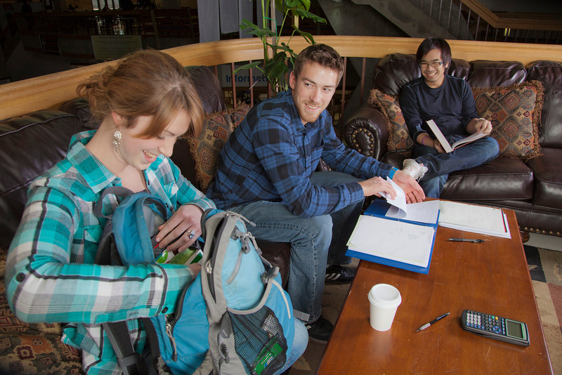 """Engineering students Joe Hunner and Tachit Chairat study with Kara La Rue in the lounge at the Wood Center.  <div class=""""ss-paypal-button"""">Filename: LIF-11-3190-20.jpg</div><div class=""""ss-paypal-button-end"""" style=""""""""></div>"""