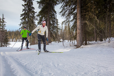UAF students Ian Wilkinson and Raphaela Sieber enjoy a morning loop around the campus ski trails.  Filename: LIF-12-3348-17.jpg