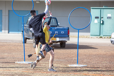 Participants in the quidditch club, UAF's newest intramural sport, play a competitive match during SpringFest 2012.  Filename: LIF-12-3382-35.jpg